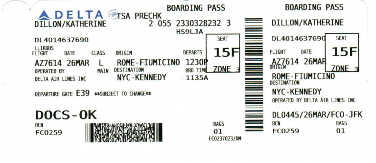 Original boarding pass.