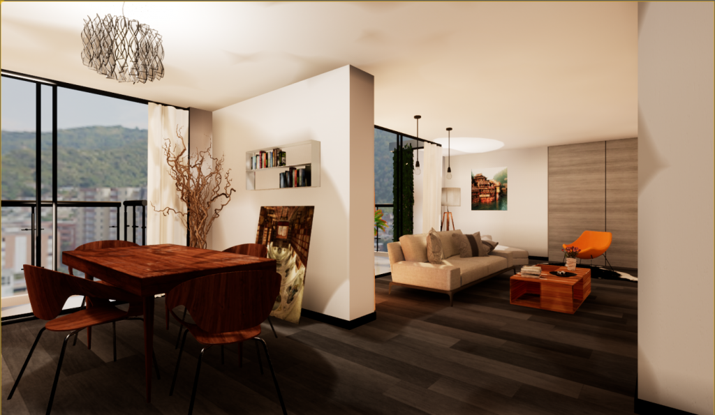User's view of the apartment in VR