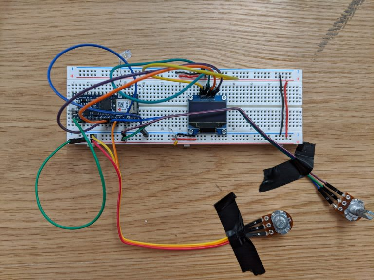 Setup on breadboard with two parameters.