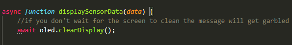 Asynchronous function to clean the screen and make new message.