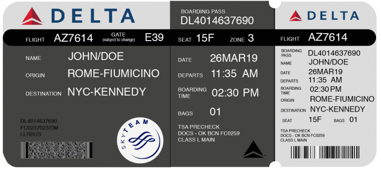 Redesigned boarding pass