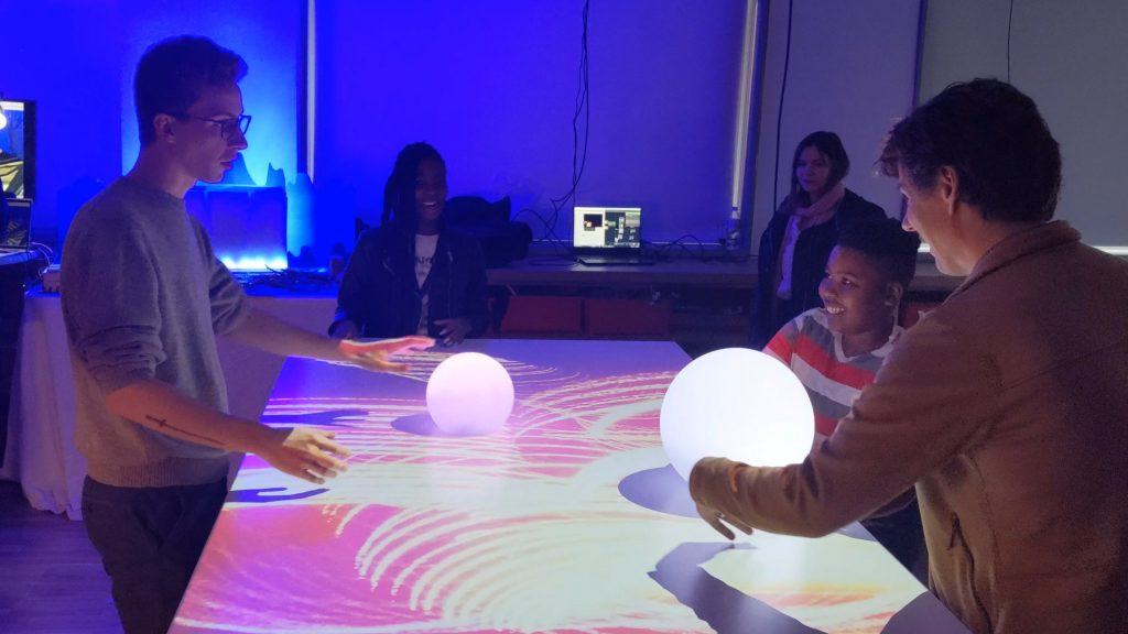 Multiple users playing with our spheres.