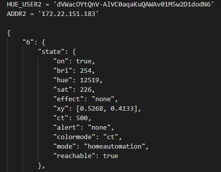Formatted JSON response.