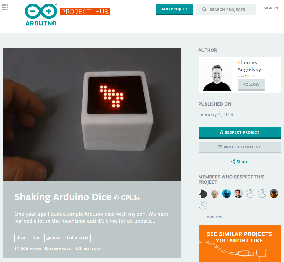 Shaking arduino dice.